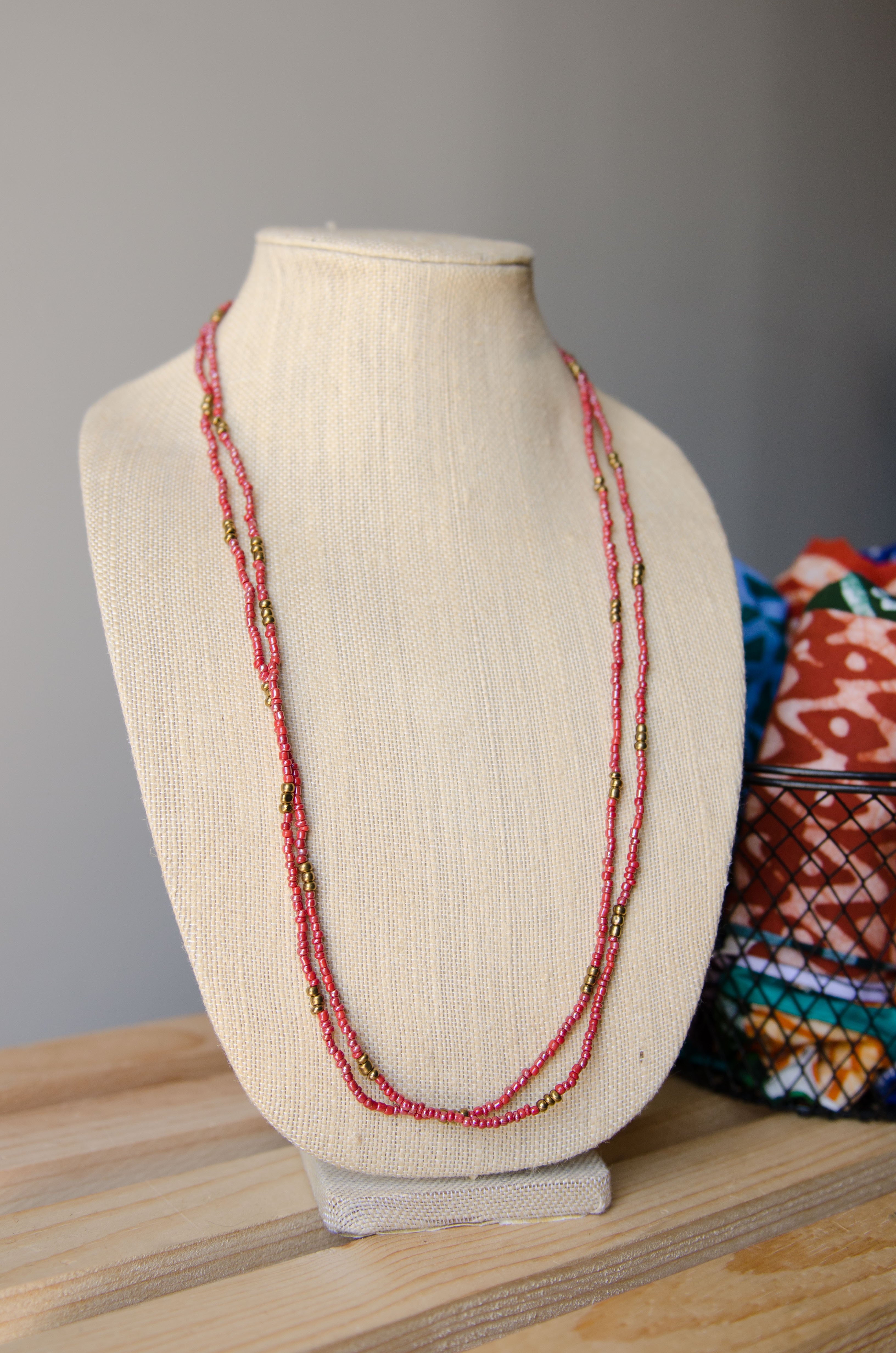 Long Seed Bead Necklace or Wrap Bracelet